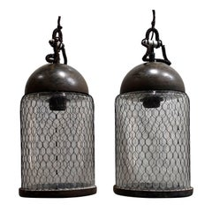 Contemporary Pair of Brushed Metal Pendant Lights with Cage, Italy