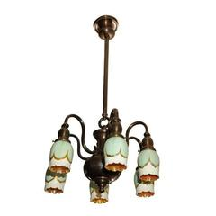 Six-Arm Chandelier with Pulled Feather Shades
