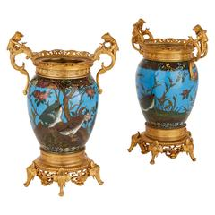 Pair of Ormolu-Mounted Cloisonné Enamel Vases