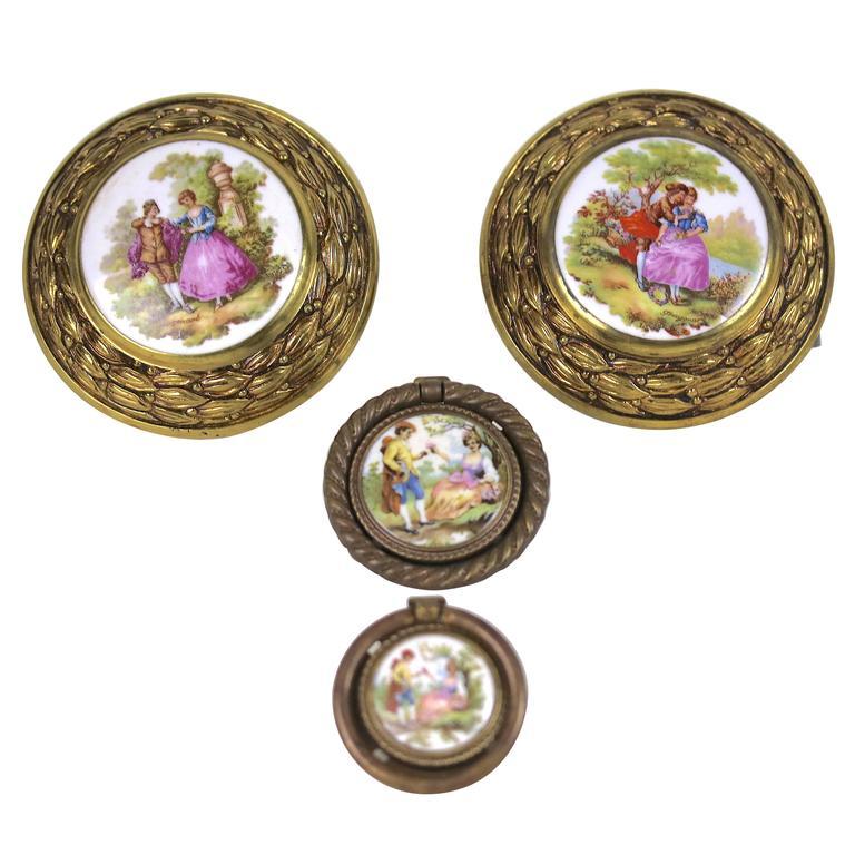 Antique Pair of Porcelain Fragonard Brass Door/Tie Backs with Two-Drawer Pulls For Sale