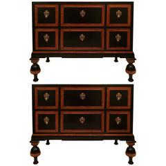Pair of Italian Curly Maple Chest of Drawers