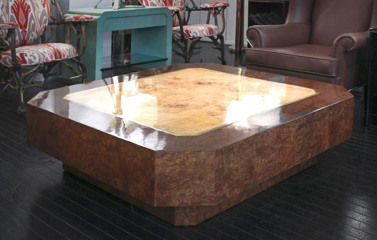 Late 20th Century DiGerlando Coffee Table in Ash Burl with Brass Inlays by Karl Springer For Sale