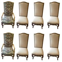 Set of Eight Impressive Large Carved Wood Dining Chairs