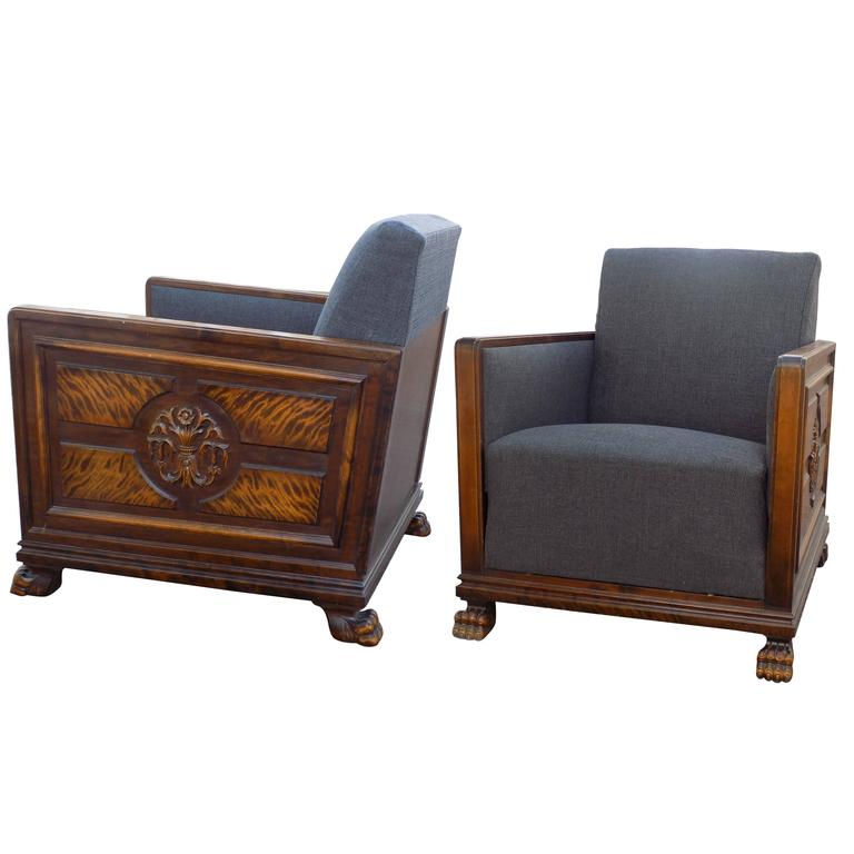 Pair of Swedish Art Deco Period Club Chairs