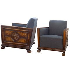 Two Pairs of Swedish Art Deco Period Club Chairs