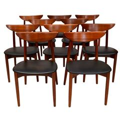 Set of Ten Teak Dining Chairs, Harry Ostergaard for Moreddi