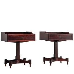 Claudio Salocchi Pair of Rosewood Side Tables for Sormani