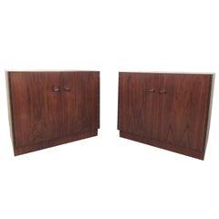 Pair Mid-Century Modern Cabinet Style Nightstands