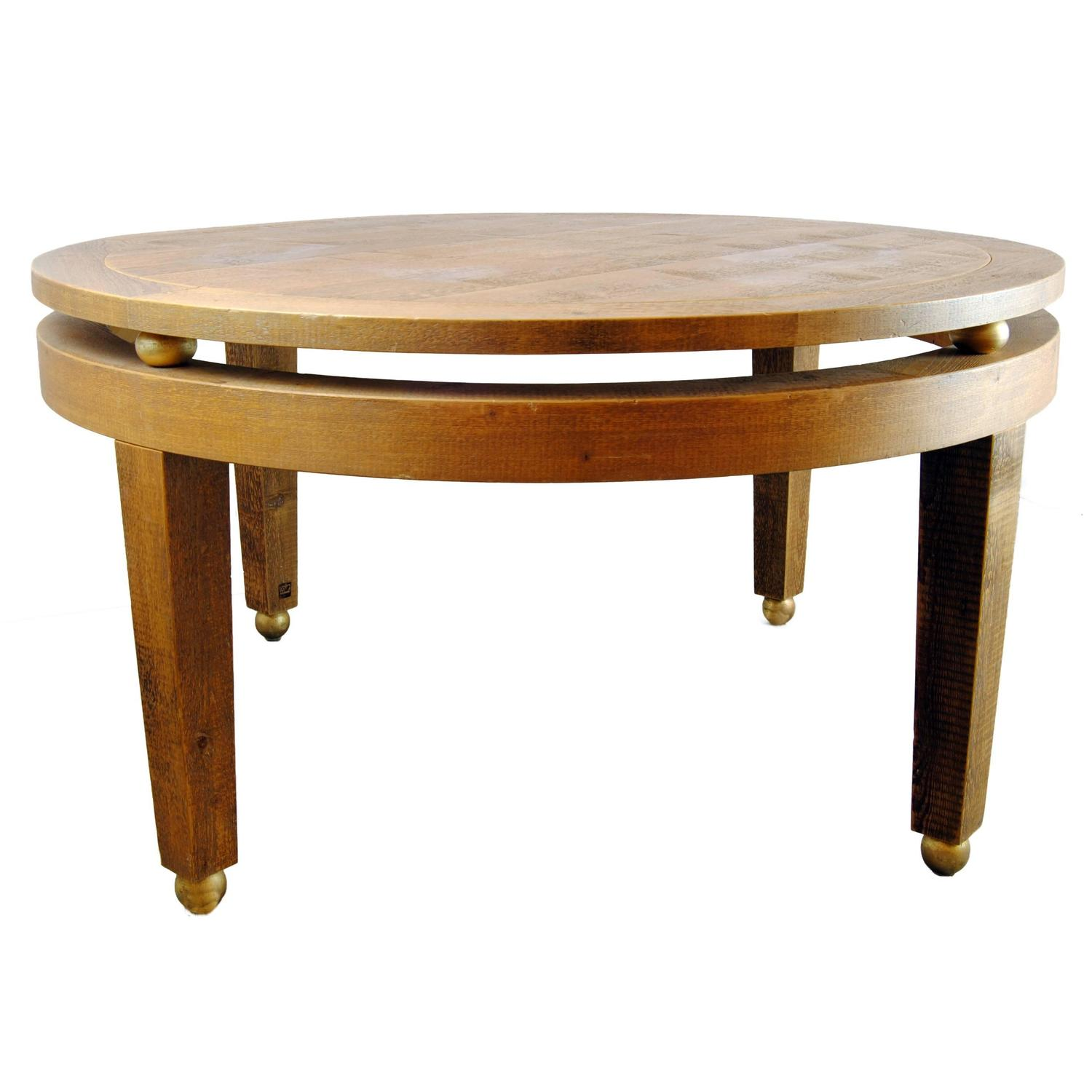 round contemporary wood dining table by michelangeli italy for sale