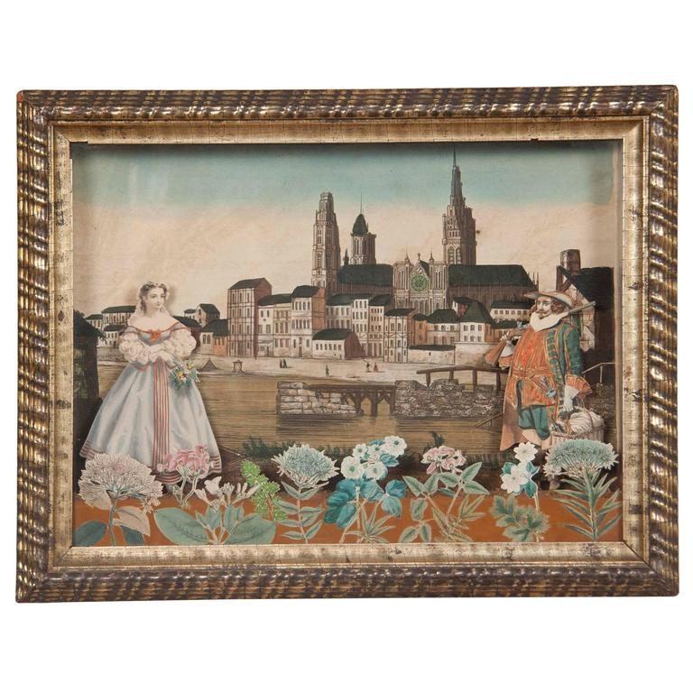 18th Century French Diorama, View of Rouen Cathedral For Sale