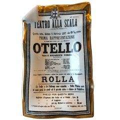 "Signed Mid Century Fornasetti Italian Metropolitan Opera ""Otello"" Play Bill Tray"