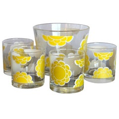 "Mid-Century Colony ""Yellow Flower Power"" Pattern Ice Bucket & s/4 Rocks Glasses"