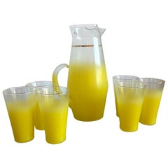 Mid-Century Modern Seven-Piece Ombre Yellow West Virginia Glass Beverage Set