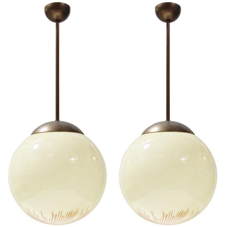 "Italian Murano ""Anemone"" Glass Globe Pendants by Venini"