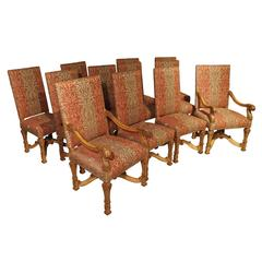 Set of 12 Louis XIV Carved Dining Chairs