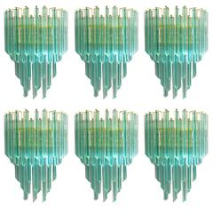 Italian Murano Aquamarine Glass Crystal Quadriedri Sconces by Venini
