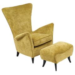 Vintage Italian Armchair with Stool, Attributed to Gio Ponti