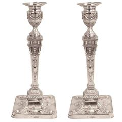 English Neoclassical Style Sterling Silver Candlesticks, London, 1882