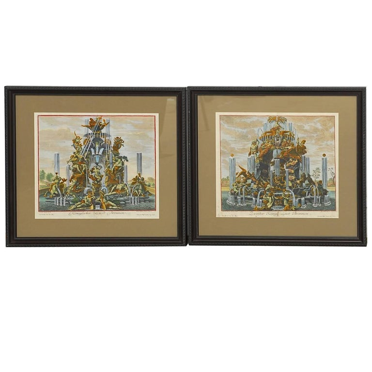 Pair of 18th Century Etchings Fountain Scenes by Paul Decker