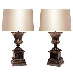 Pair of Smoky Brown Rock Crystal Quartz Urn Table Lamps