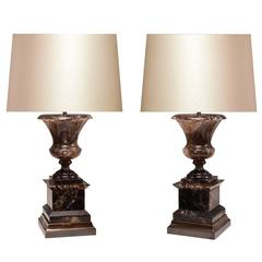 Pair of Smoky Brown Rock Crystal Quartz Urn Table Lamps