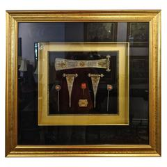 Framed Antique Mongolian Hair Adornments