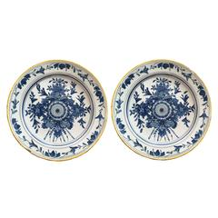 18th Century Pair of Large Delft Blue and White Plates