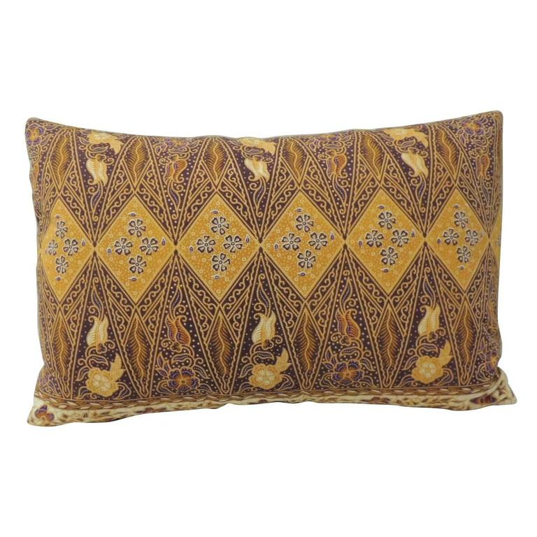 Brown Floral Throw Pillow : Floral Yellow and Brown Batik Decorative Bolster Pillows at 1stdibs