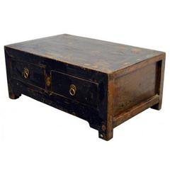 Antique Chinese 19th Century Low Kang Two Drawers Black Lacquered Cabinet