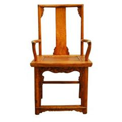 Antique Hand Carved and Lacquered Elmwood Chair from 19th Century China