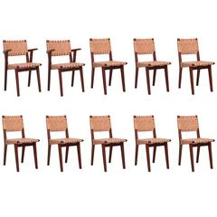Rare Oak Jens Risom Set of Ten Webbed Knoll Chairs in Leather Webbing, France