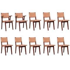 Rare Oak Jens Risom Set of Ten Webbed Knoll Chairs in Leather Webbing, France