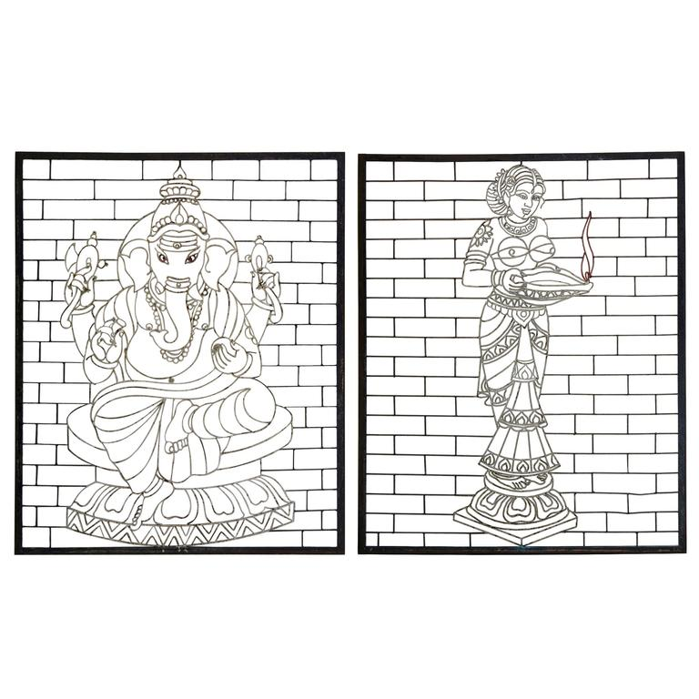 "Large ""Ganesh & Parvati"" Painted Iron Screens, India, circa 1950s"