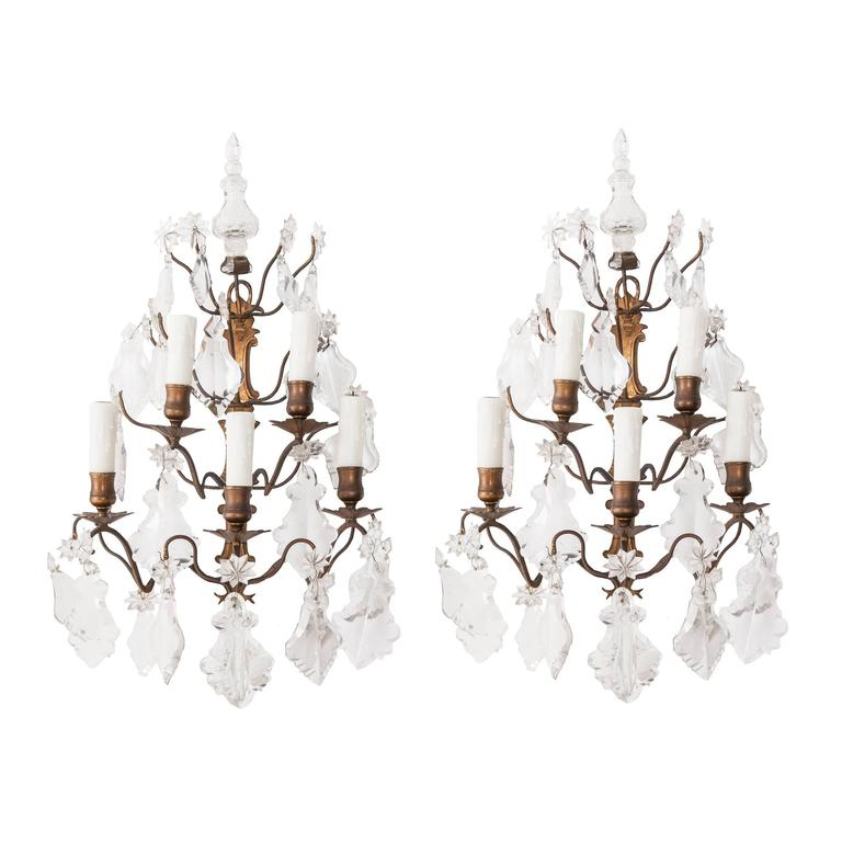 Pair of French 19th Century Crystal and Brass Sconces