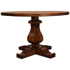 Round French Walnut Table with Parquet Top