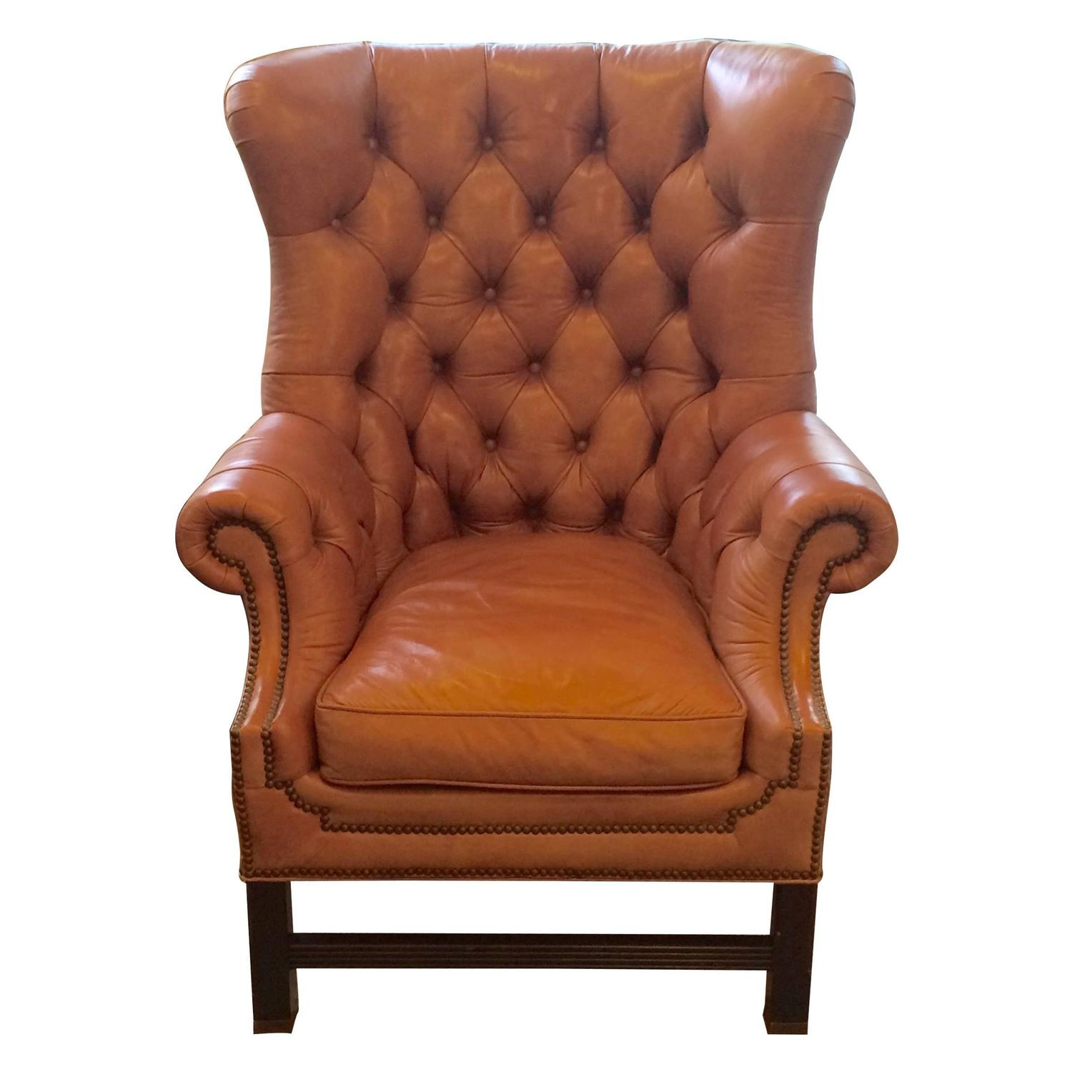 Rich Camel Leather Tufted Wing Chair For Sale at 1stdibs