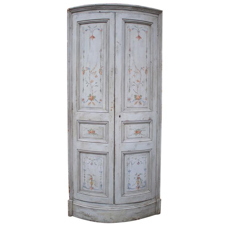 Pair of 19th Century French Painted Corner Cabinets 1
