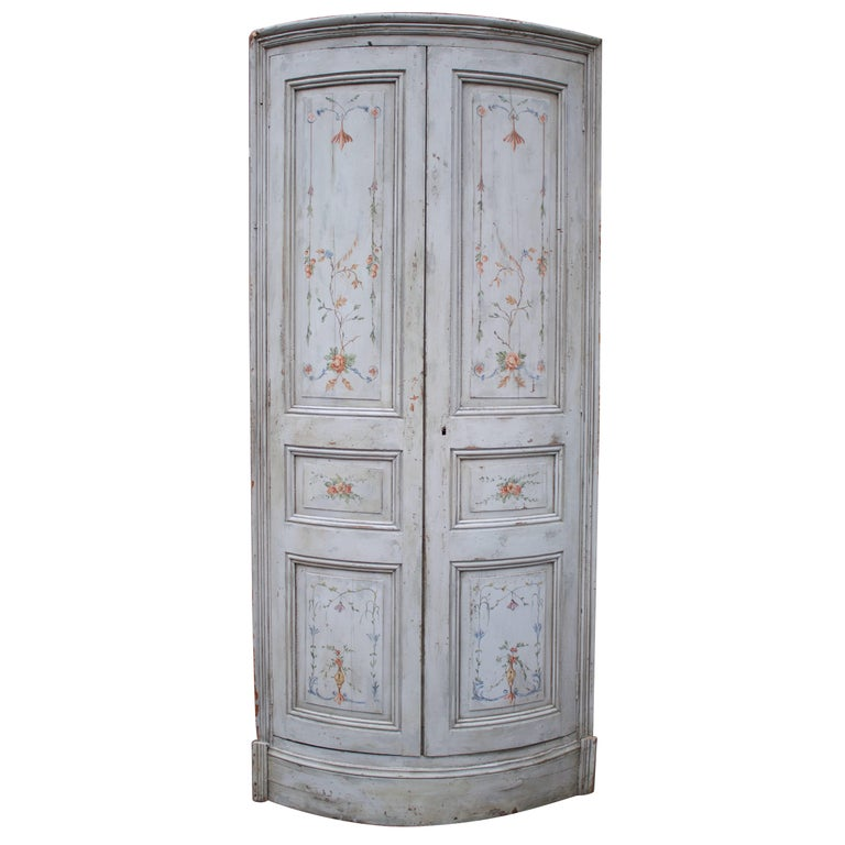 19th Century French Painted Corner Cabinet For Sale
