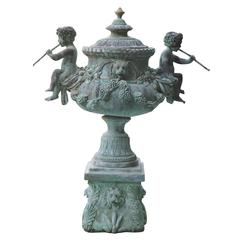 Superb Cascading Bronze Verdigris Fountain- Flute Playing Puttis- Lions-Provenan