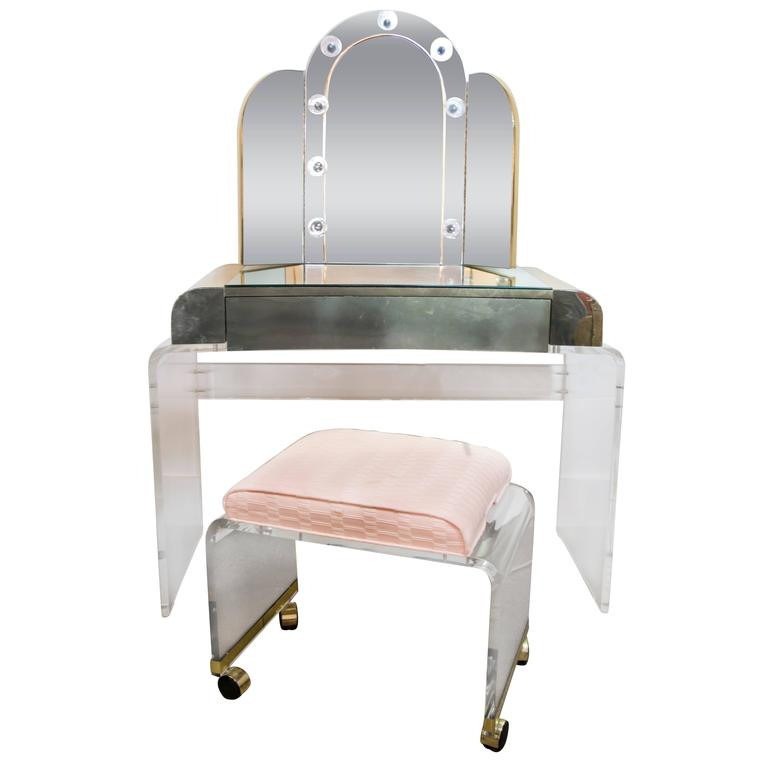 Lucite And Brass Waterfall Vanity With Lighted Mirror And Stool At 1stdibs