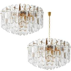 Two Kalmar Flush Mount or Pendant Lights 'Palazzo', Gilt Brass and Glass, 1970