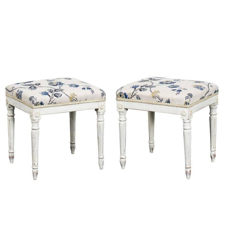 A Pair of Swedish Gustavian Stools For Sale