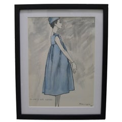 Framed 1958 Givenchy Fashion Illustration by Pierre Mourgue