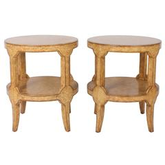 Pair of Faux Ostrich End Tables