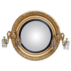 Over Scale Regency Convex Giltwood Mirror