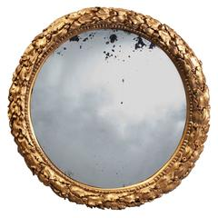 Very Large 19th Century Antique Gilt Convex Mirror