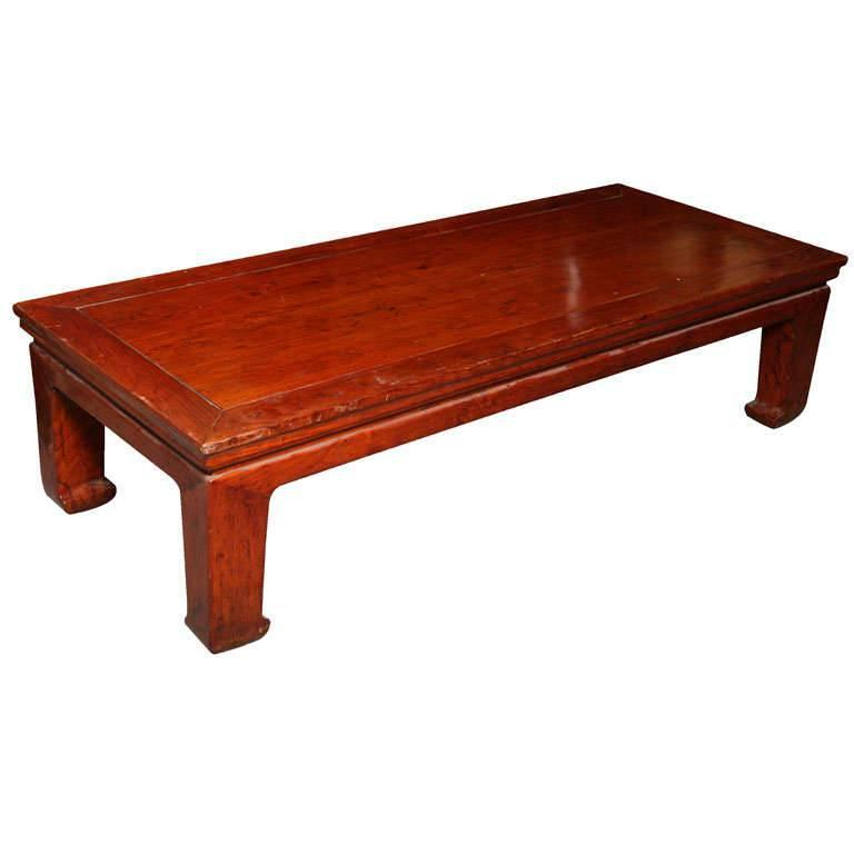 Antique Chinese Red Lacquered Elmwood Bed / Coffee Table from the 19th Century