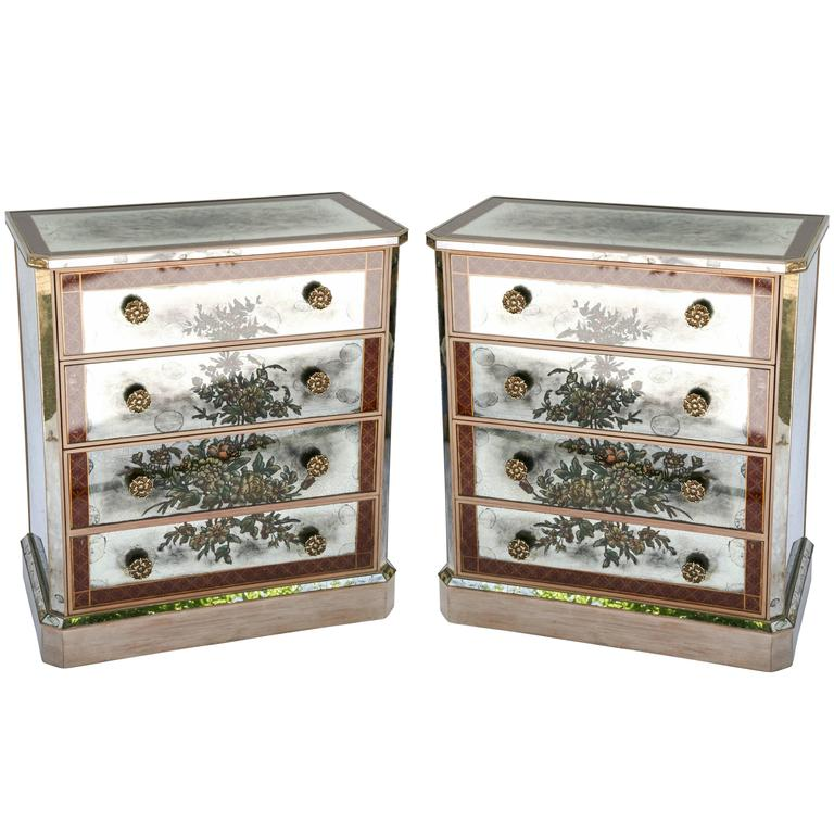 Pair of Églomisé Mirrored Chest of Drawers, circa 1940s