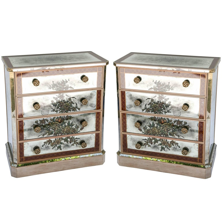 Pair of Églomisé Mirrored Chest of Drawers, circa 1940s For Sale
