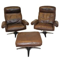 Vintage De Sede DS 31 Highback Swivel Lounge Armchairs with Ottoman